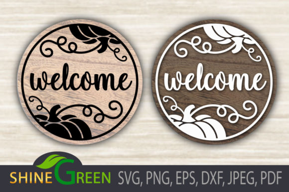 Print on Demand: Fall - Pumpkin -Welcome - Round Sign Graphic Crafts By ShineGreenArt