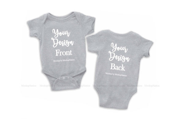 Print on Demand: Front & Back Heather Grey Baby Bodysuit Graphic Product Mockups By Mockup Station
