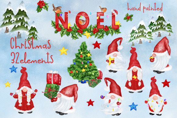 Gnomes Clipart Christmas Clipart Graphic