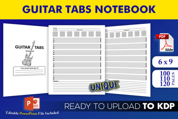 Print on Demand: Guitar Tabs Notebook | KDP Interior Gráfico Páginas KDP Por Beast Designer