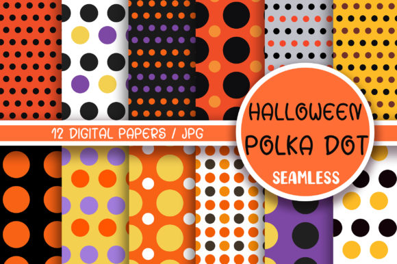 Halloween Polka Dot Seamless Pattern Graphic Backgrounds By PinkPearly