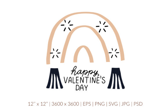 Happy Valentines Day Svg. Boho Rainbow Graphic Illustrations By cyrilliclettering