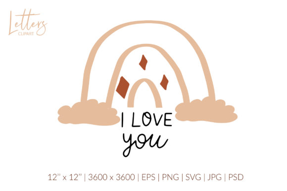 I Love You Svg. Love Quote Rainbow Svg Graphic Illustrations By cyrilliclettering