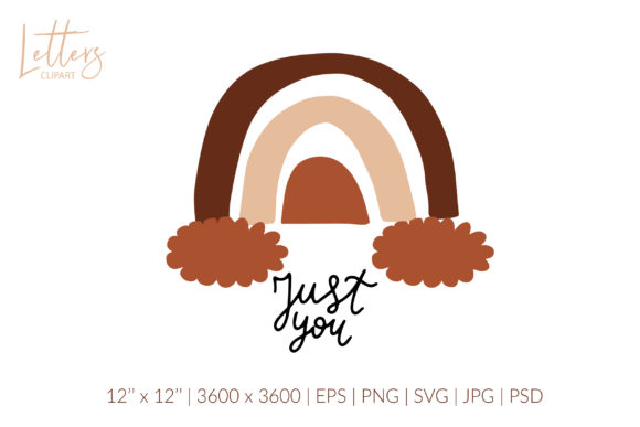 Just You. Boho Rainbow Valentines Svg Graphic Illustrations By cyrilliclettering