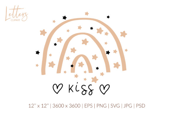Kiss Svg. Boho Rainbow Svg, Valentines Graphic Illustrations By cyrilliclettering