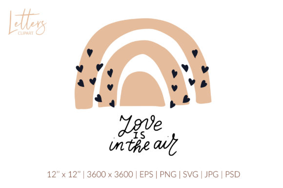 Love is in the Air Svg. Boho Love Svg Graphic Illustrations By cyrilliclettering