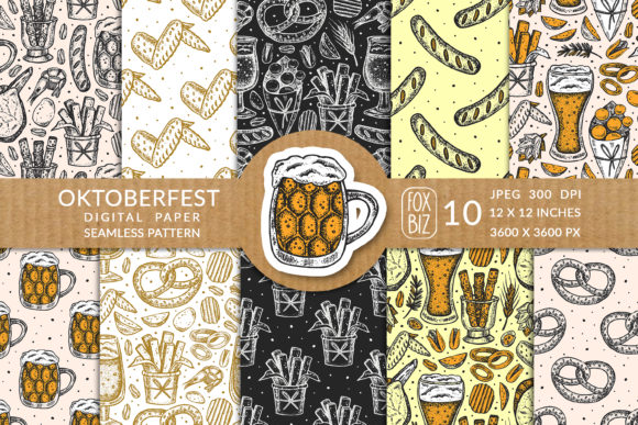 Print on Demand: Oktoberfest. Menu. Seamless Pattern. Graphic Patterns By FoxBiz