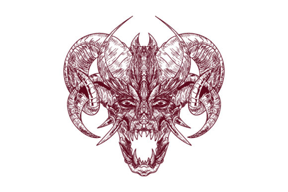 Satanic Goat Head Illustration Graphic Illustrations By byemalkan