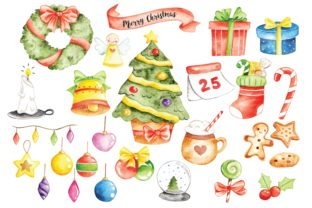 Set of Christmas Doodle in Water Colour Graphic Illustrations By Big Barn Doodles