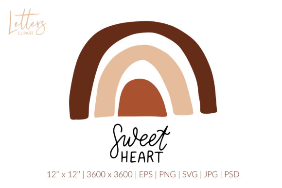Sweet Heart. Boho Rainbow Svg, Love Svg Graphic Illustrations By cyrilliclettering
