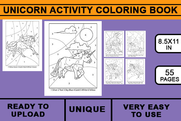 Print on Demand: Unicorn Coloring Activity Book Graphic KDP Interiors By Artistcreativedesign