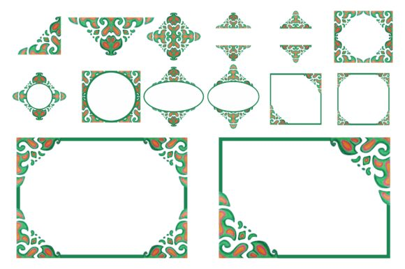 Print on Demand: Watercolor Green Ornament Frame Border Graphic Crafts By Arief Sapta Adjie
