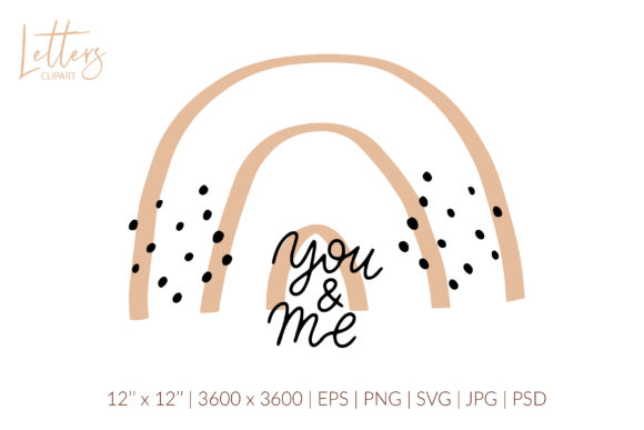 You and Me Svg, Boho Rainbow Svg Graphic Illustrations By cyrilliclettering