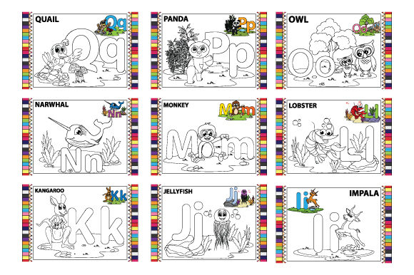 Coloring the Letter a to Z for Children Graphic Download