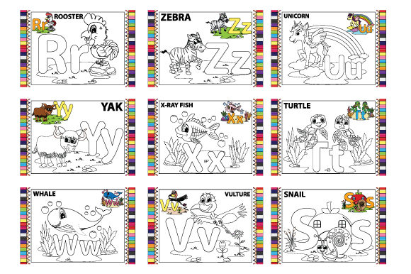 Coloring the Letter a to Z for Children Graphic Design