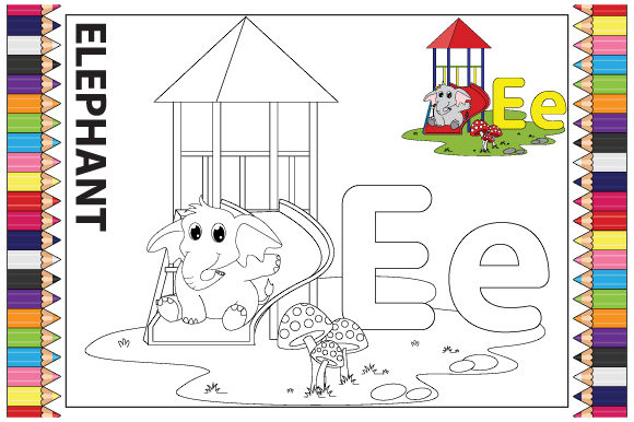 Coloring the Letter a to Z for Children Graphic Downloadable Digital File
