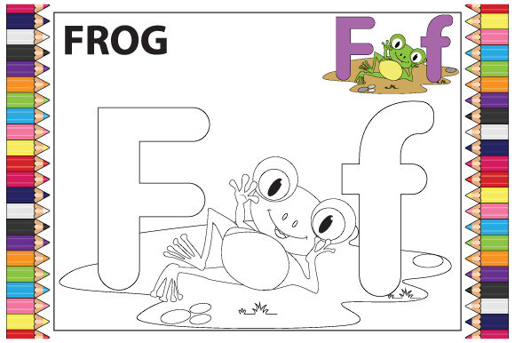 Print on Demand: Coloring the Letter F for Children Graphic Illustrations By curutdesign