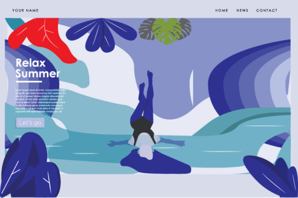 Relax Girl Summer Landing Page Graphic Landing Page Templates By byemalkan