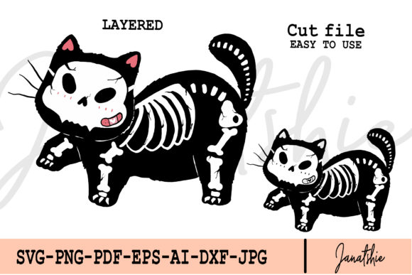 Skeleton Cute Funny Cat Clip Art Vector Graphic Illustrations By Janatshie