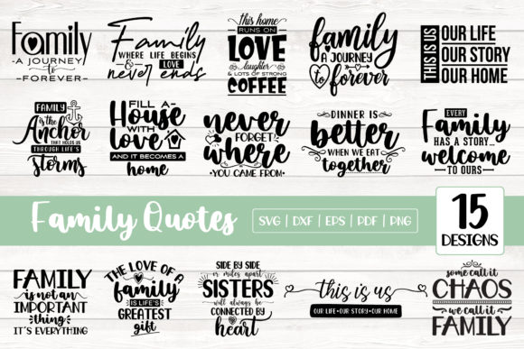 15 Family Quotes Bundle Graphic Crafts By CraftlabSVG