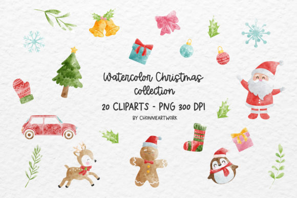 20 Christmas Watercolor Cliparts Graphic Print Templates By Chonnieartwork