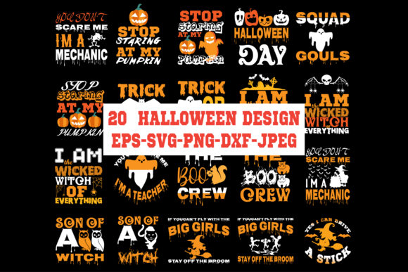 Print on Demand: 20 Halloween Design Bundles Graphic Crafts By Graphics Home.net