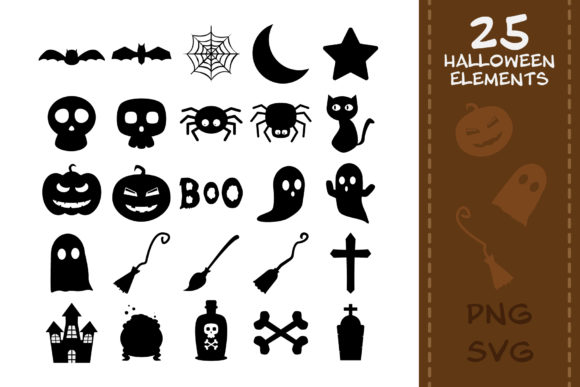 Print on Demand: 25 Halloween Elements for Your DIY Graphic Crafts By IsaraDesign