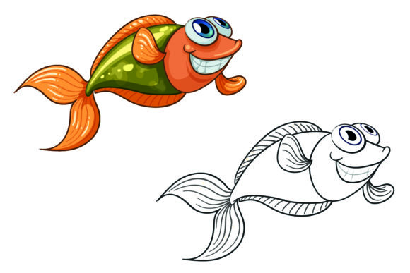 A Smiling Tiny Fish Graphic Illustrations By KDP_Interior_101