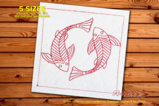 Abstract Fish Design Pattern Paisley Embroidery Design By Redwork101