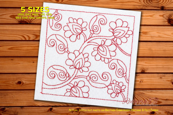 Abstract Flower Pattern Paisley Embroidery Design By Redwork101