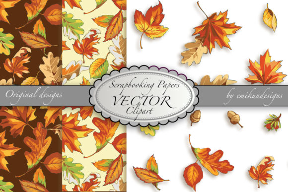 Autumn Leaves Clipart and Pattern Graphic Patterns By emikundesigns