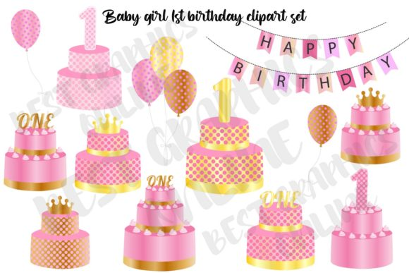 Baby Girl 1st Birthday Cake Clipart Set Graphic Illustrations By bestgraphicsonline