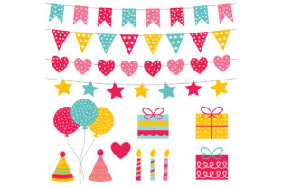 Birthday Party, 14 PNG Images Graphic Illustrations By lattesmile