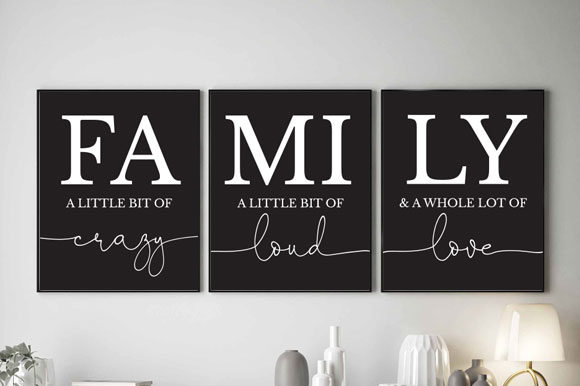 Black & White Family Quotes, TOS_7 Graphic Print Templates By TwentyOneStudios