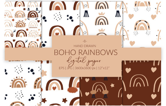 Boho Rainbows Digital Paper Set Graphic Patterns By cyrilliclettering