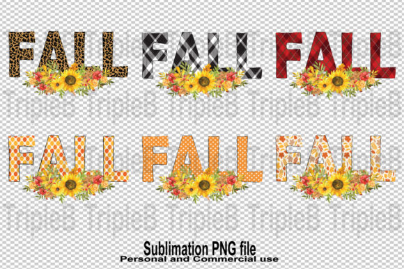 Print on Demand: Bundle Fall 6 Style Pattern Sublimation Graphic Crafts By TripleBcraft