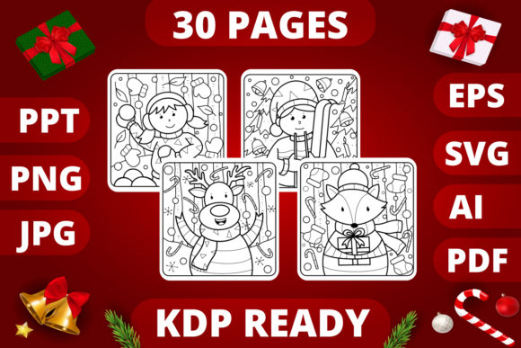 Print on Demand: Christmas Coloring Pages for Kids Bundle  By MikeToon Studio
