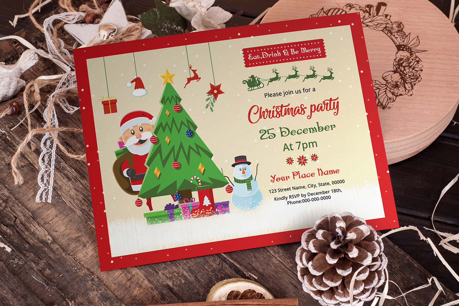 Christmas Party Invitation Template Graphic By Sistecbd Creative Fabrica