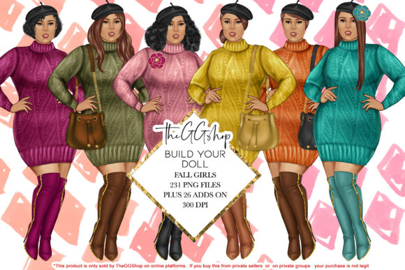 Print on Demand: Curvy Girl Fashion Cliparts Graphic Illustrations By TheGGShop