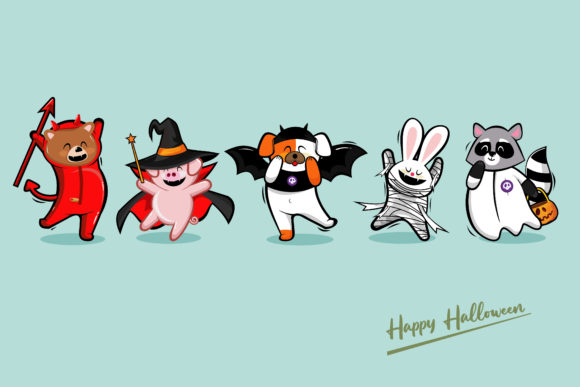 Cute Cartoon in Halloween Costumes Graphic Illustrations By onoborgol