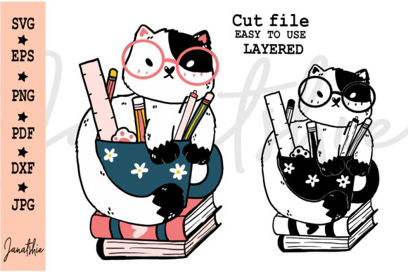 Cute, Nerd Cat with Book Vector Graphic Illustrations By Janatshie