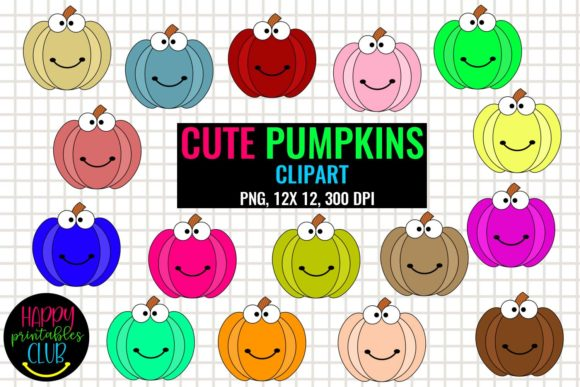 Print on Demand: Cute Pumpkins Clipart - Halloween Pumpkin Graphic Illustrations By Happy Printables Club