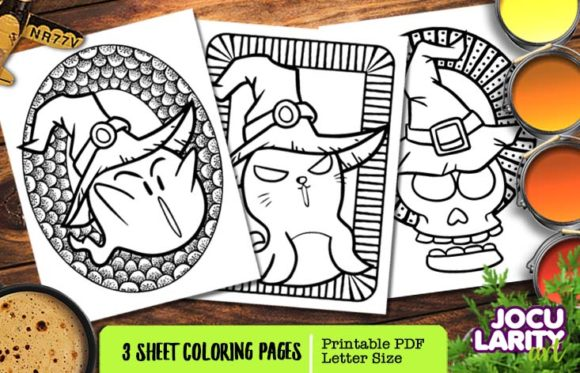 Print on Demand: Cute Scary Halloween Coloring Page Graphic Coloring Pages & Books Kids By JocularityArt