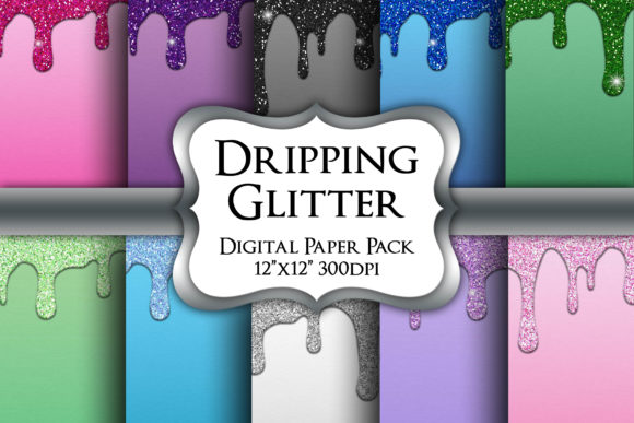Print on Demand: Dripping Glitter Digital Paper Pack Graphic Backgrounds By Party Pixelz