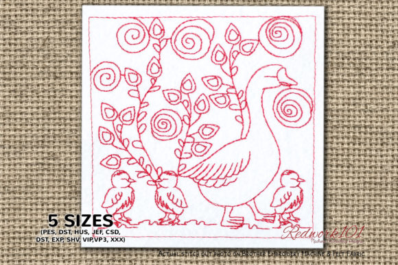 Duck with Ducklings Paisley Embroidery Design By Redwork101
