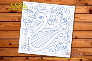 Duck with Seamless Pattern Paisley Embroidery Design By Redwork101