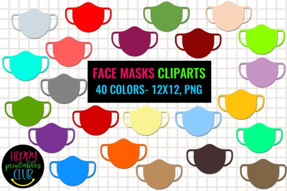 Print on Demand: Face Masks Cliparts - Colorful Face Masks Gráfico Ilustraciones Por Happy Printables Club