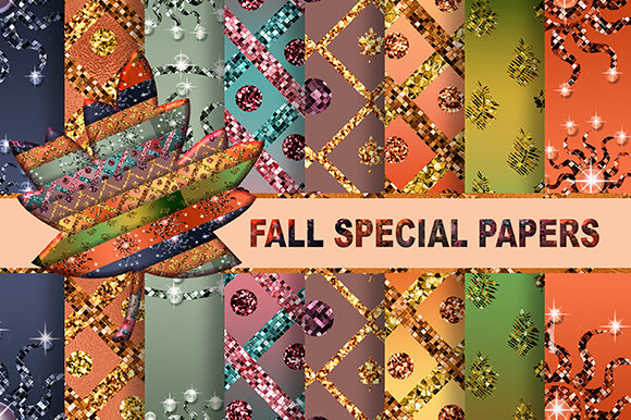 Fall Pattern with Glitter & Foil Texture Graphic Patterns By sugamiart