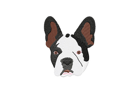 Print on Demand: French Bulldog Head Dogs Embroidery Design By EmbArt