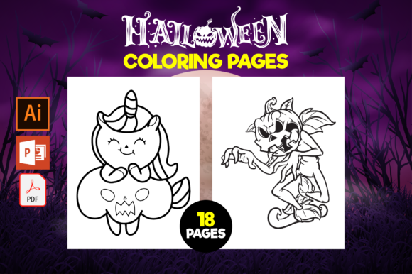 Print on Demand: Halloween Coloring Pages for Kids Graphic Coloring Pages & Books Kids By MK DESIGN